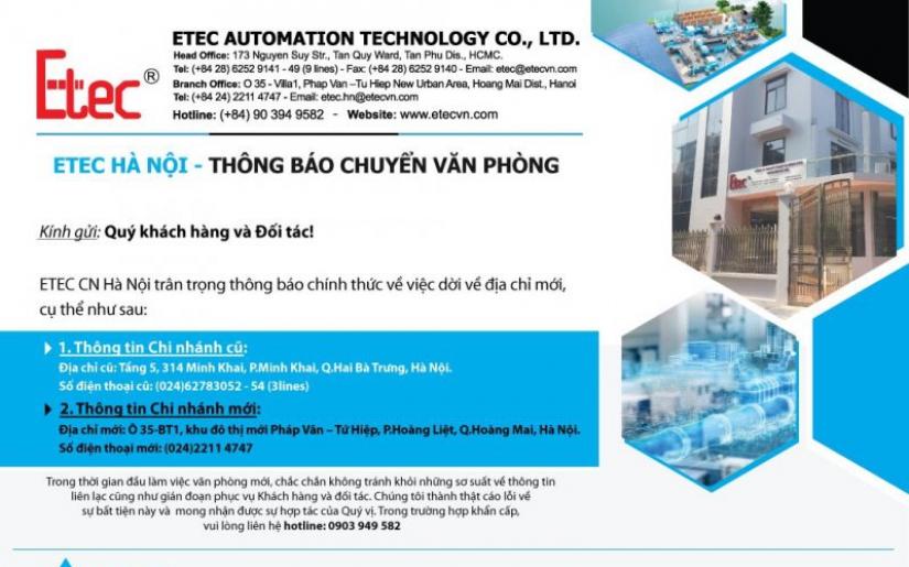 Thông báo chuyển văn phòng Chi nhánh Hà Nội