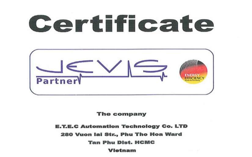 Chứng nhận Jevis Partner Quản lý năng lượng theo tiêu chuẩn ISO 50001